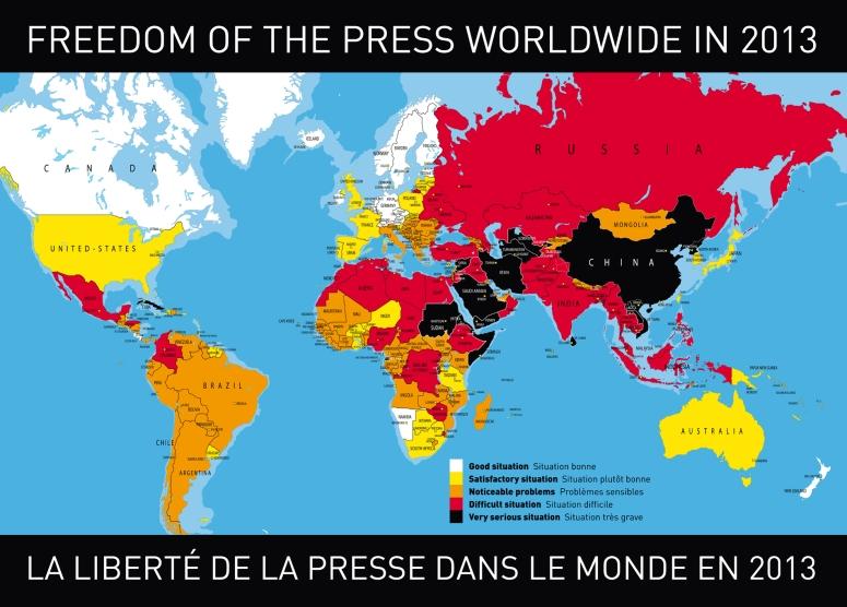 Mapa libertad de prensa 2013