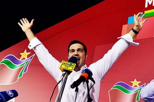 Tsipras durante su discurso en la noche electoral. Foto: El País